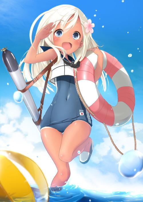 艦隊これくしょん 艦これ 潜水艦娘 呂500 ろーちゃん スク水・日焼け・褐色肌 かわいい 潜水艦は最高だぜ 636 900 画像 壁紙