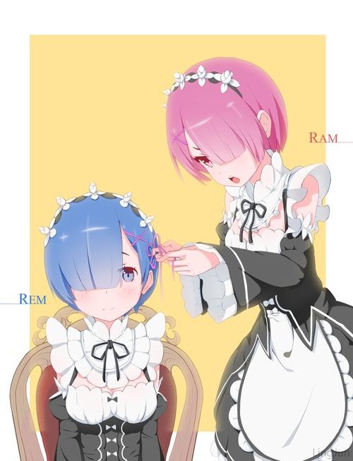 リゼロ Reゼロから始める異世界生活 レムラム かわいい・きれい 双子姉妹 目隠れ髪型 メイド服 イラスト 画像 壁紙
