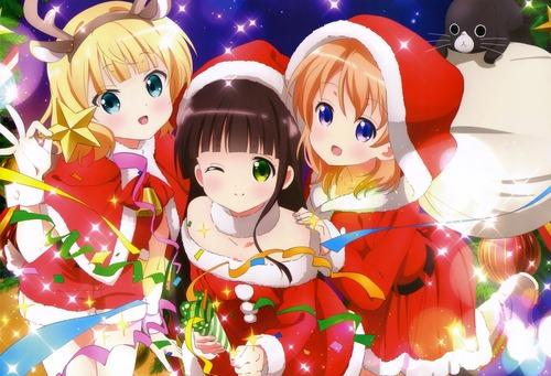 ご注文はうさぎですか?? サンタ衣装のシャロ・千夜・ココア クリスマス 画像 壁紙