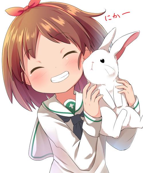 girls_und_panzer ガールズ&パンツァー ガルパン 阪口桂利奈 制服 ウサギさんチーム 笑顔 かわいい イラスト 画像 壁紙