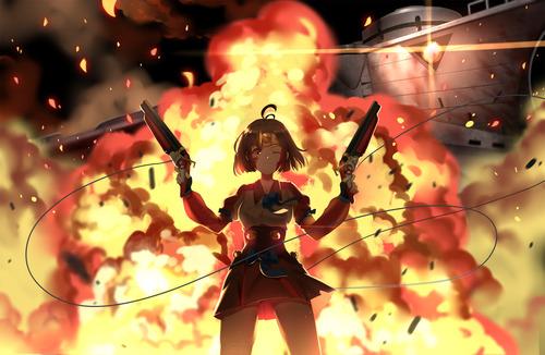 甲鉄城(こうてつじょう)のカバネリ 無名(むめい) 爆発 2丁拳銃 画像 壁紙