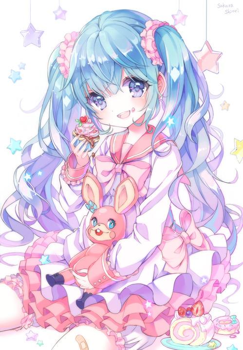 ボーカロイド(ボカロ) お菓子を食べる初音ミク ツインテール ピンクの制服 画像 壁紙