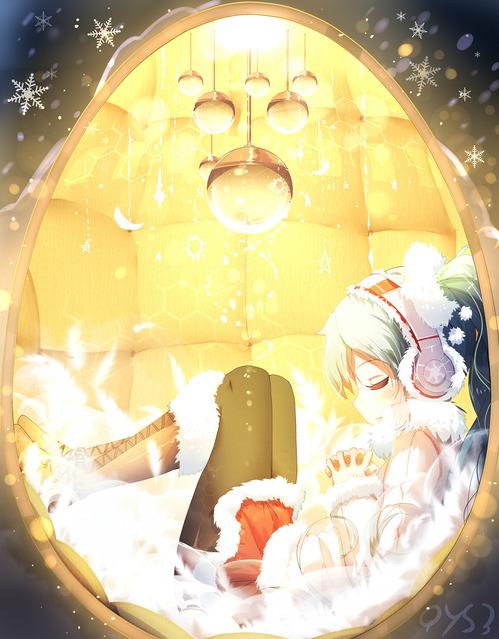 VOCALOID(ボーカロイド) ボカロ 眠る初音ミク ツインテール 冬服 イヤーマフ ヘッドフォン 高画質 金色 画像 壁紙
