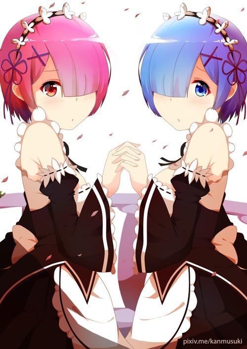 リゼロ Reゼロから始める異世界生活 レム ラム かわいい 双子 姉妹 メイド 1753 2479 画像 壁紙