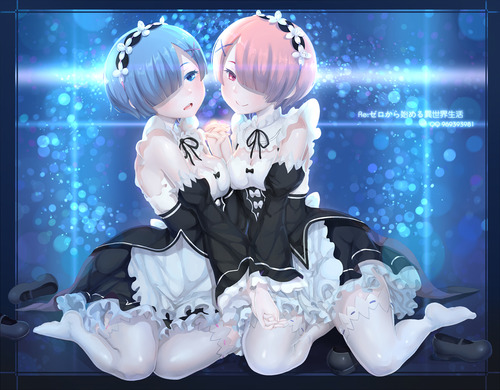 Reゼロから始める異世界生活 リゼロ レムラム かわいい 双子姉妹 マジ天使 目隠れ髪 メイド服 イラスト 画像 壁紙