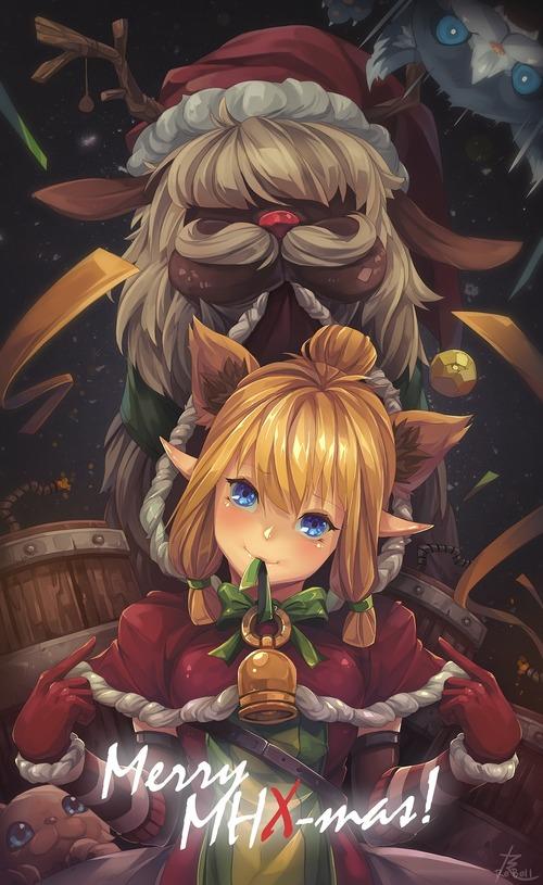 MHX モンスターハンタークロス ネコ嬢 クリスマス 冬 かわいい画像 壁紙