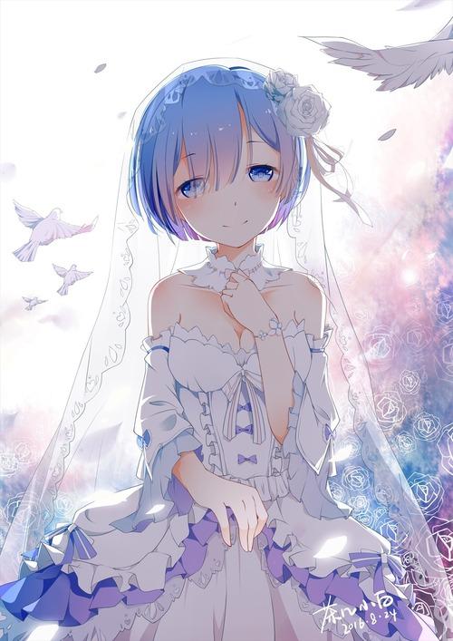 リゼロ レムラム かわいい・きれい 双子姉妹 目隠れ髪型 花嫁・ウエディングドレス Reゼロから始める異世界生活 イラスト 画像 壁紙