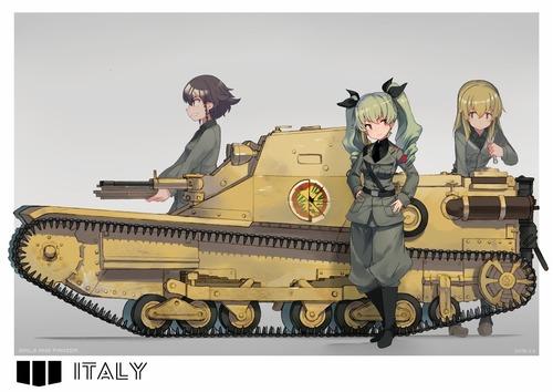GuP ガールズ&パンツァー ガルパン アンツィオ高校 ペパロニ アンチョビ カルパッチョ CV33型快速戦車 画像 壁紙