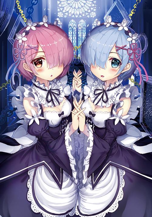 リゼロ Reゼロから始める異世界生活 レム ラム かわいい・きれい 双子姉妹 目隠れ髪型 メイド服 RMT イラスト 画像 壁紙