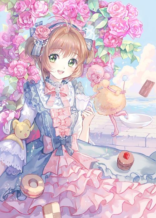 CCさくら カードキャプターさくら 木之本桜 フリルドレス ケロちゃん クロウカード 1450 2029 画像 壁紙