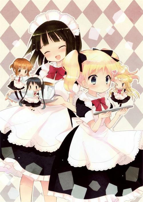 きんいろモザイク メイド服を着た5人 アリス 忍 カレン 陽子 綾 画像 壁紙