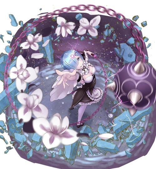 リゼロ Reゼロから始める異世界生活 レム ラム かわいい 双子 姉妹 メイド服 鉄球 1600 1735 画像 壁紙