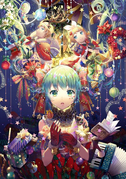 ボーカロイド 初音ミク 鏡音レン・リン クリスマス画像 スマホ壁紙