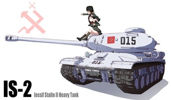 ガールズ&パンツァー カチューシャ ノンナ プラウダ高校 肩車 IS-2 戦車 画像 壁紙