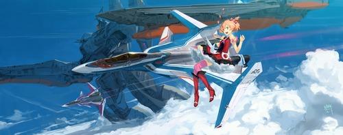 マクロスΔ デルタ フレイア・ヴィオン VF-31Jジークフリード 青空 イラスト 画像 壁紙