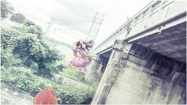 2次 アニメ anime のんのんびより nonnon biyori 一条蛍 いちじょうほたる ほたるん ichijo hotaru ノーブラ no bra 川 とびこみ 田舎 横 画像 PC スマホ 壁紙 待ち受け