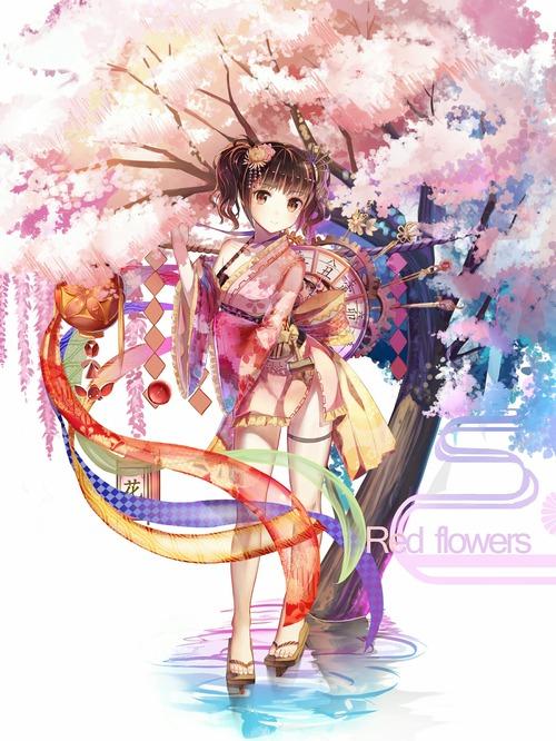 甲鉄城(こうてつじょう)のカバネリ 無名(むめい) 縞パン パンチラ 着物 桜 画像 壁紙