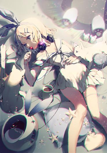 vocaloid ボーカロイド キャンディを舐める鏡音リン 画像 壁紙