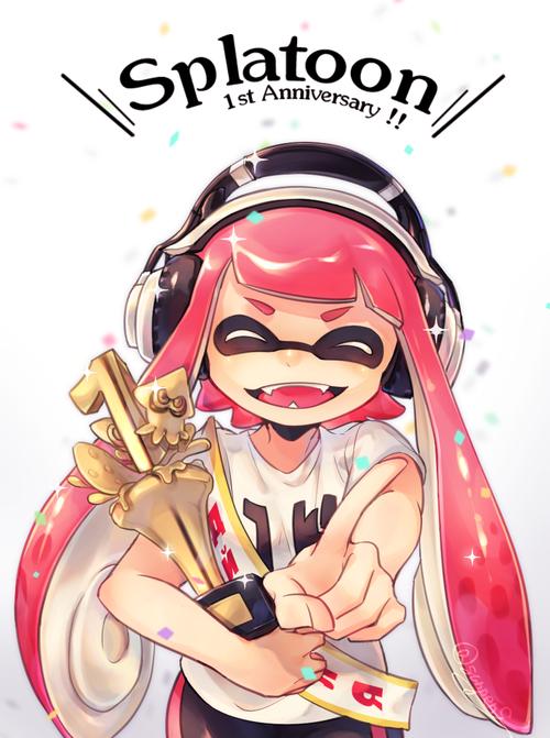 WiiU スプラトゥーン splatoon インクリング イカガール イカちゃん 1周年記念 笑顔 イラスト きれい かわいい 画像 pc スマホ 壁紙