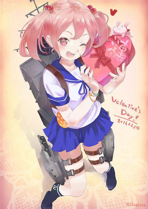 艦隊これくしょん-艦これ- 大きなチョコを持ってウインクする漣(さざなみ) ロリ ピンク髪ツインテール バレンタイン 画像 壁紙