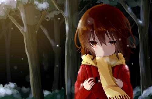 僕だけがいない街 僕街(ぼくまち) 雛月加代(ひなづきかよ) ロリ マフラー 赤コート 冬 雪 画像 壁紙
