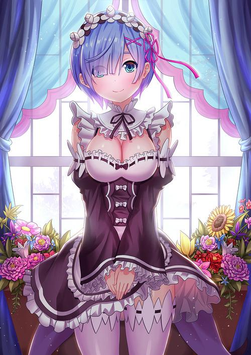 Reゼロから始める異世界生活 リゼロ レム かわいい・きれい 双子姉妹 マジ天使 目隠れ髪型 メイド服 イラスト 画像 壁紙