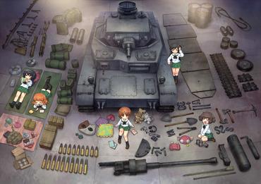 ガールズ&パンツァー Ⅳ号戦車のパーツとあんこうチーム 画像 壁紙