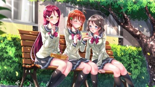 lovelive_sunshine ラブライブサンシャイン aqours・アクア 高海千歌 渡辺曜 桜内梨子 かわいい 学校・食事風景 イラスト 画像 壁紙