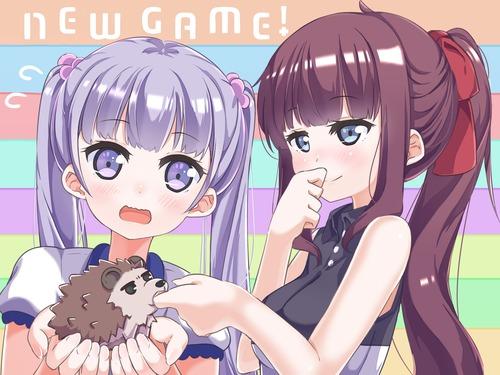 new_game! ニューゲーム 涼風青葉 滝本ひふみ 先輩 ハリネズミ(宗次朗) 3307 2480 4k 画像 壁紙