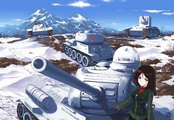 ガールズ&パンツァー ガルパン プラウダ高校 ノンナ 戦車 T-34/76 T-34/85 IS-2 KV-2 画像 壁紙