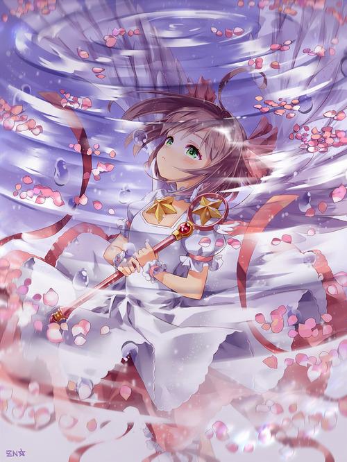 CCさくら カードキャプターさくら 木之本桜 水面 花びら 1000 1333 画像 壁紙