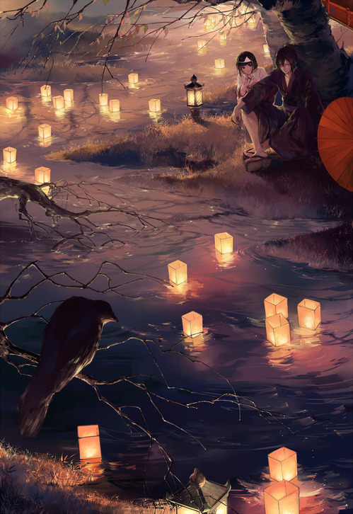 ノラガミ aragoto 川辺に佇む夜トと野良(緋) 高画質 画像 壁紙