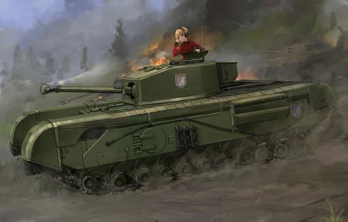 GuP ガールズ&パンツァー ガルパン チャーチル歩兵戦車MK-Ⅶ ダージリン 画像 壁紙