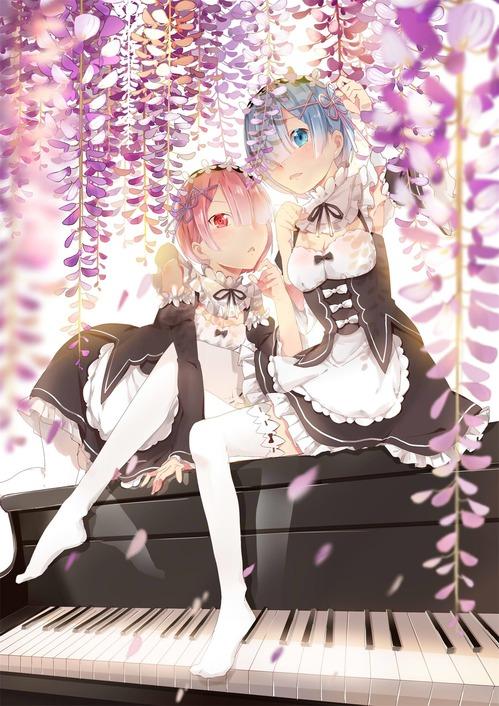 リゼロ Reゼロから始める異世界生活 レム ラム かわいい 双子 姉妹 メイド服 ピアノ イラスト 画像 壁紙