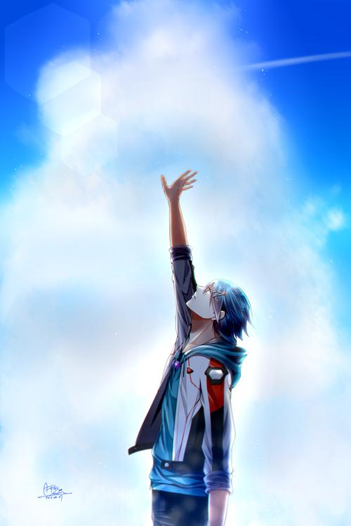 マクロスΔ 空に手を伸ばすハヤテ・インメルマン 青空 画像 壁紙