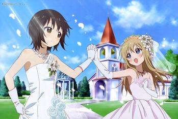 ゆるゆり 歳納京子 船見結衣 きょうこ ゆい ウエディング ドレス 画像 壁紙