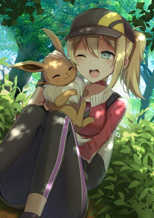 Pokemon_GO ポケモンGO 女性トレーナー かわいい イーブイ 画像 壁紙