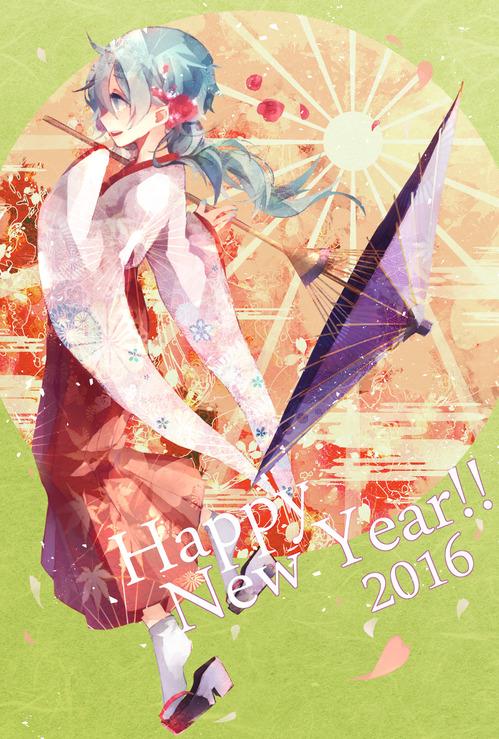 お正月 年賀 賀正 2016 可愛い着物姿の女の子 2次画像 スマホ壁紙