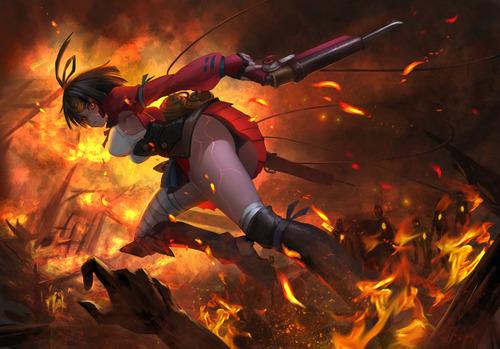 甲鉄城(こうてつじょう)のカバネリ 無名(むめい) 戦場 かっこいい 画像 壁紙