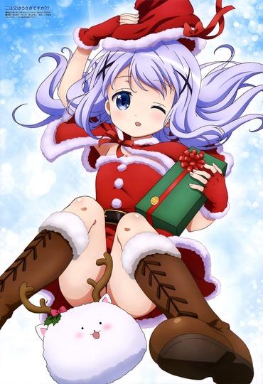 ご注文はうさぎですか?? チノ クリスマス サンタ 画像 壁紙