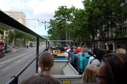 バルセロナ観光バスの2階から見える景色