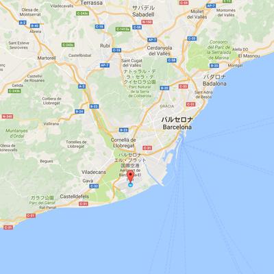 バルセロナ・エル・プラット空港からバルセロナの位置関係