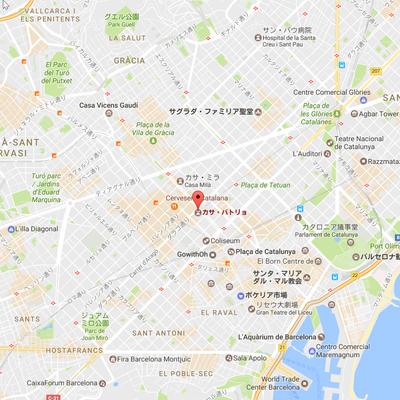 カサ・バトリョ周辺の地図