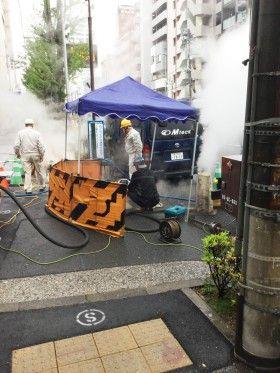 中区日の出町で下水工事
