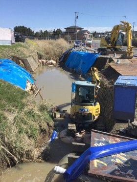 宮城県大和町で川の工事