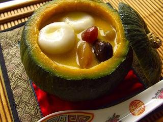 YOMEちゃんのブログ-杏仁白玉と南瓜の冷やし汁粉