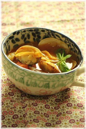 あさりと、焦がし玉ねぎのトマトスープ。 と 献立。