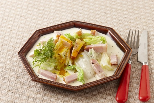 _ENL0455【Jオイルミルズ】蒸し白菜のオイルカルボナーラ