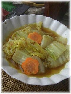 白菜のおかかカレー煮。 と献立。