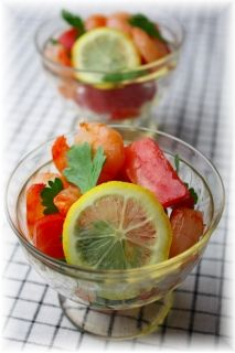 塩海老レモン・トマト。 と献立。